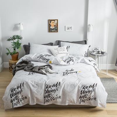 2019新款全棉印花四件套 1.2m床单款 摩尔