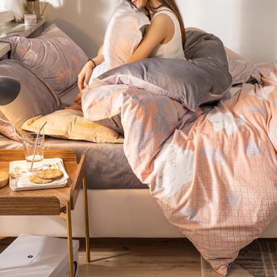 2019新款7D雕花絨四件套 1.8m(6英尺)床 白熊伙伴-桔