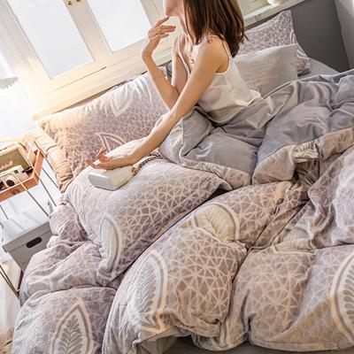 2019新款7D雕花絨四件套 1.8m(6英尺)床 浪漫葉空-灰色