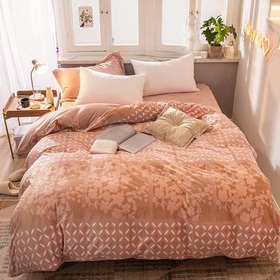 2019新款7D雕花絨四件套 1.8m(6英尺)床 如影-棕