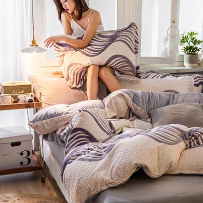 2019新款7D雕花絨四件套 1.8m(6英尺)床 隨想曲-米蘭