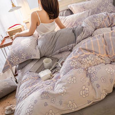 2019新款7D雕花絨四件套 1.8m(6英尺)床 一簾幽夢-灰色