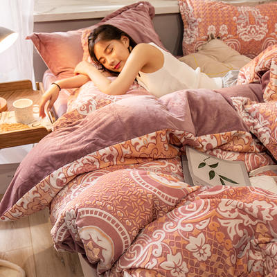 2019新款7D雕花絨四件套 1.8m(6英尺)床 悠然純美