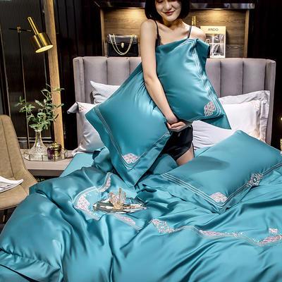 2020新款60貢緞長絨棉四件套-奢雅 1.5m床單款四件套 奢雅-藍