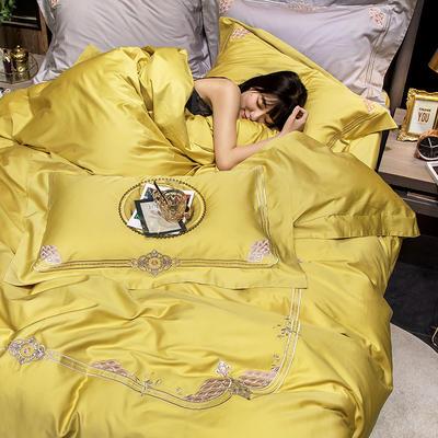 2020新款60貢緞長絨棉四件套-奢雅 1.5m床單款四件套 奢雅-路易黃
