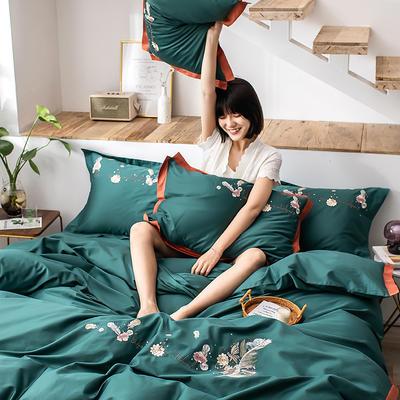2020新款60貢緞長絨棉四件套-花羽 1.5m床單款四件套 花羽-墨黛綠