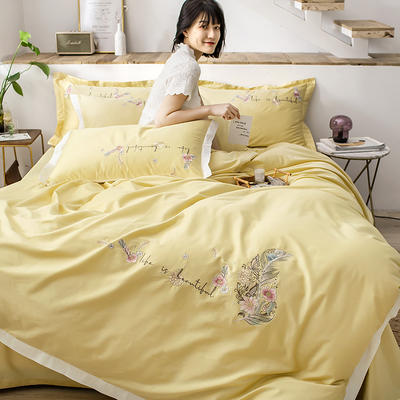 2020新款60貢緞長絨棉四件套-花羽 1.5m床單款四件套 花羽-奶黃