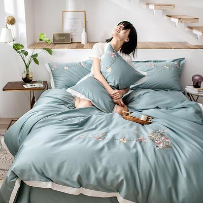 2020新款60貢緞長絨棉四件套-花羽 1.5m床單款四件套 花羽-淺石綠
