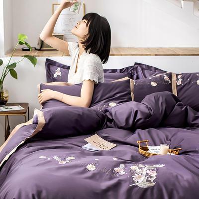 2020新款60貢緞長絨棉四件套-花羽 1.5m床單款四件套 花羽-深紫