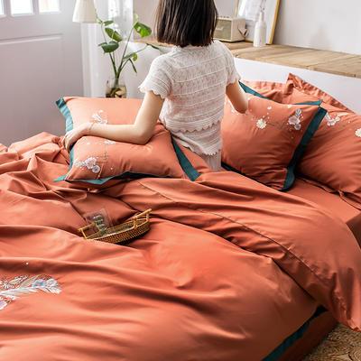 2020新款60貢緞長絨棉四件套-花羽 1.5m床單款四件套 花羽-甜蜜桔