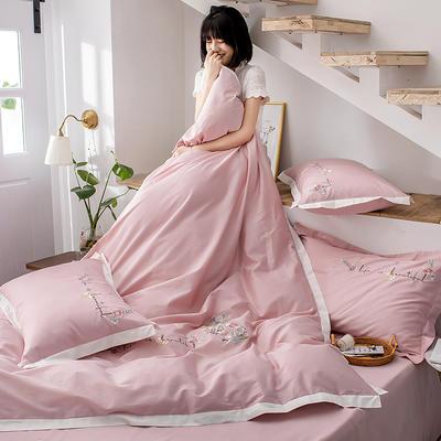 2020新款60貢緞長絨棉四件套-花羽 1.5m床單款四件套 花羽-香妃粉