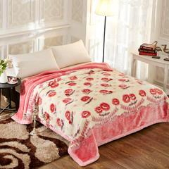 经典系列拉舍尔涤纶毯 195cm×230cm±5 225粉