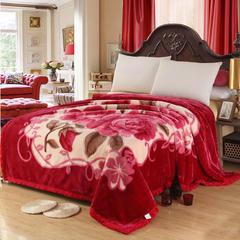 经典系列拉舍尔涤纶毯 195cm×230cm±5 240橡皮红