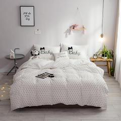 2018斜纹提花磨毛床垫款四件套 1.2m(4英尺)床 波点白