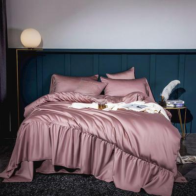 2020新款-60長絨棉寬花邊系列四件套 床單款1.5m(5英尺)床 水粉