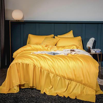 2020新款-60長絨棉寬花邊系列四件套 床單款1.5m(5英尺)床 櫻草黃