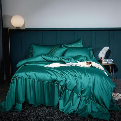 2020新款-60長絨棉寬花邊系列四件套 床單款1.5m(5英尺)床 云杉綠