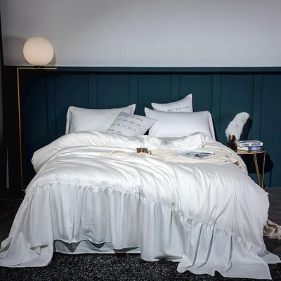2020新款-60長絨棉寬花邊系列四件套 床單款1.5m(5英尺)床 珍珠白