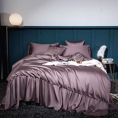 2020新款-60長絨棉寬花邊系列四件套 床單款1.5m(5英尺)床 紫豆沙