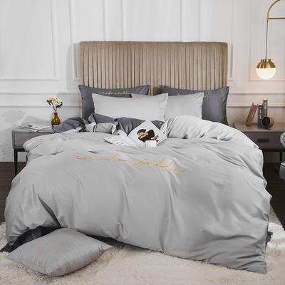 2020新款-60長絨棉雙拼系列四件套 床單款1.5m(5英尺)床 白銀灰+氣質灰