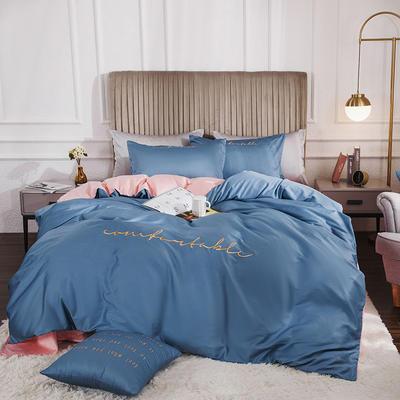 2020新款-60長絨棉雙拼系列四件套 床單款1.5m(5英尺)床 風暴藍+水粉