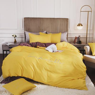 2020新款-60長絨棉雙拼系列四件套 床單款1.5m(5英尺)床 櫻草黃+維尼咖