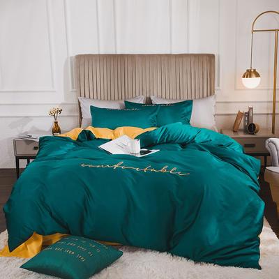 2020新款-60長絨棉雙拼系列四件套 床單款1.5m(5英尺)床 云杉綠+櫻草黃