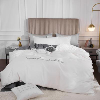 2020新款-60長絨棉雙拼系列四件套 床單款1.5m(5英尺)床 珍珠白+氣質灰