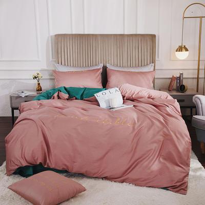 2020新款-60長絨棉雙拼系列四件套 床單款1.5m(5英尺)床 紫豆沙+森林綠