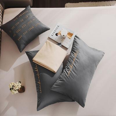 2020新款-60長絨棉雙拼系列單抱枕 抱枕只/含芯 氣質灰+帛咖