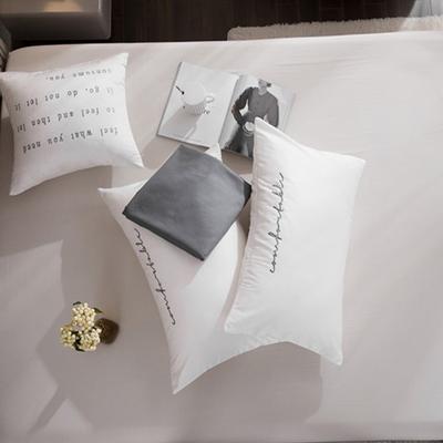 2020新款-60長絨棉雙拼系列單抱枕 抱枕只/含芯 珍珠白+氣質灰