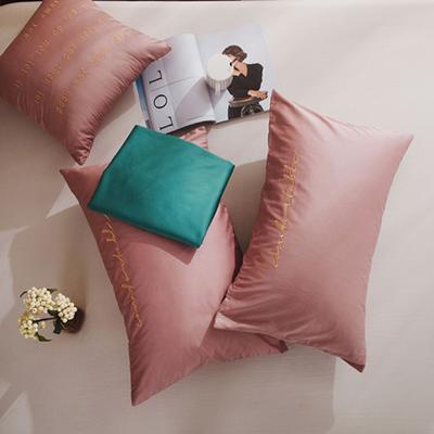2020新款-60長絨棉雙拼系列單抱枕 抱枕只/含芯 紫豆沙+森林綠