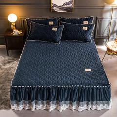 2018新款水晶绒夹棉绗缝床裙款 枕套/对 你好美丽—宝蓝