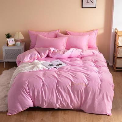 2020新款工艺款北欧风全棉喷气13070纯色刺绣镶边四件套 1.5m床单款四件套 粉色