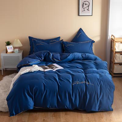 2020新款工艺款北欧风全棉喷气13070纯色刺绣镶边四件套 1.5m床单款四件套 海蓝