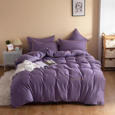 2020新款工艺款北欧风全棉喷气13070纯色刺绣镶边四件套 1.5m床单款四件套 浅紫