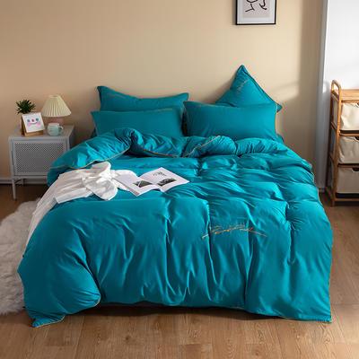 2020新款工艺款北欧风全棉喷气13070纯色刺绣镶边四件套 1.5m床单款四件套 深蓝