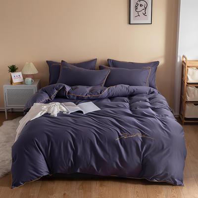 2020新款工艺款北欧风全棉喷气13070纯色刺绣镶边四件套 1.5m床单款四件套 深紫