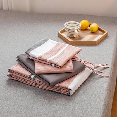 2020新款日系格子乐肤棉四件套 1.2m床单款四件套 1灰粉条纹