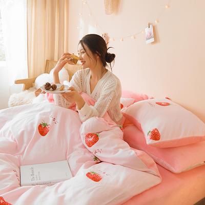 2020新款加厚棉加绒A版全棉B版法莱绒水晶绒牛奶绒秋冬保暖四件套 1.2m床单款三件套 草莓之恋