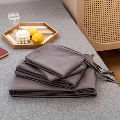 2020新款日系格子乐肤棉四件套 1.2m床单款四件套 1烟灰