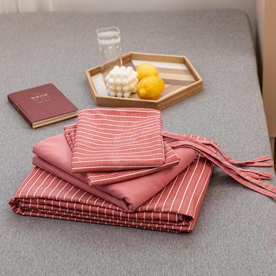 2020新款日系格子乐肤棉四件套 1.2m床单款四件套 豆沙条纹