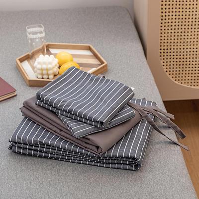 2020新款日系格子乐肤棉四件套 1.2m床单款四件套 蓝灰条纹