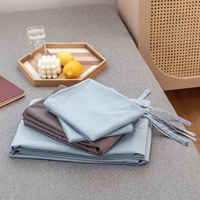 2020新款日系格子乐肤棉四件套 1.2m床单款四件套 浅蓝灰