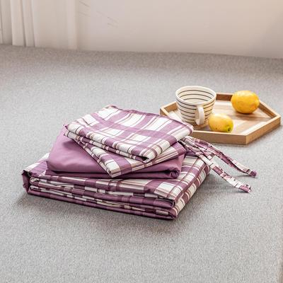 2020新款日系格子乐肤棉四件套 1.2m床单款四件套 紫白格