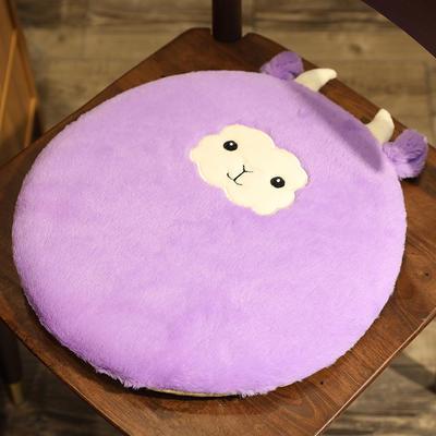 2020新款卡通兔毛坐垫地垫 直径40*40cm 紫羊