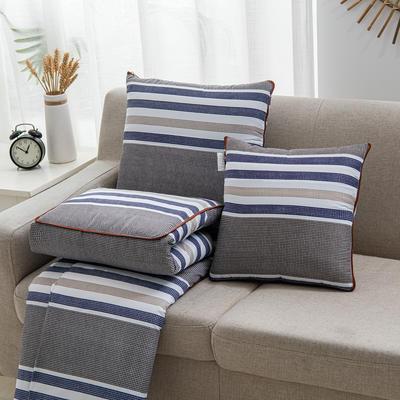 2020新款精舒棉系列抱枕被 40*40展开105*150cm 简约格条