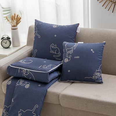 2020新款精舒棉系列抱枕被 40*40展开105*150cm 线球猫
