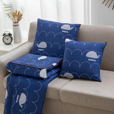 2020新款精舒棉系列抱枕被 40*40展开105*150cm 小鲸鱼