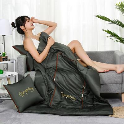 2020新款轻奢刺绣款抱枕被 40X40cm展开被子110*150cm 橄榄绿